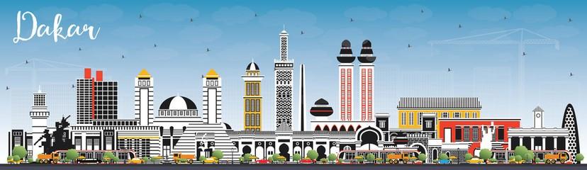 Dakar Senegal City Skyline with Color Buildings and Blue Sky.